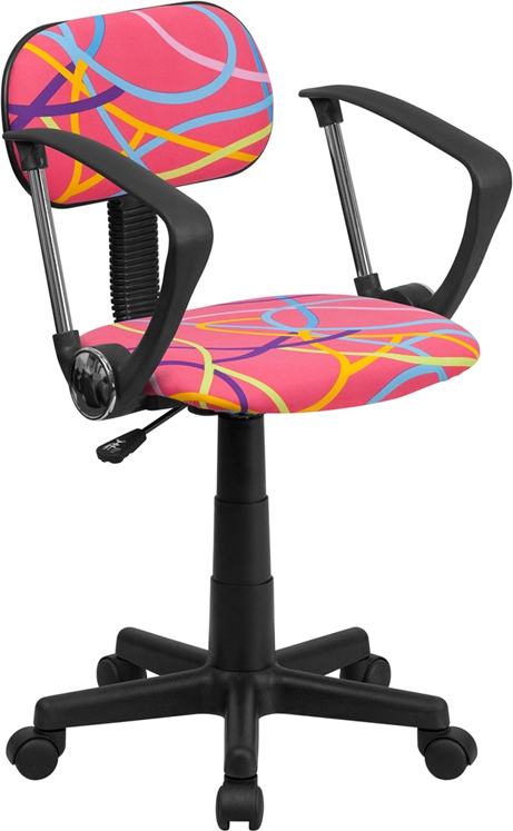 Flash Furniture Multi-Colored Swirl Printed Pink Computer Chair with Arms [BT-OLY-A-GG]