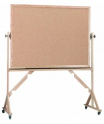 "Aarco RBB3648 Reversible Free Standing Natural Cork Board with Oak Frame 36"" x 48"""