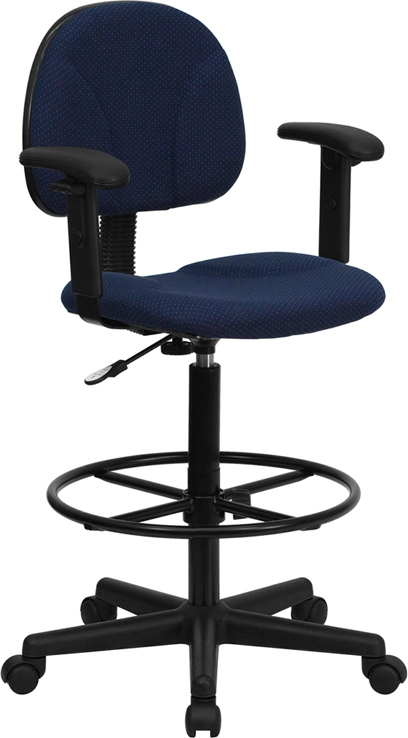 Flash Furniture Navy Blue Patterned Fabric Ergonomic Drafting Stool with Arms (Adjustable Range 26''-30.5''H or 22.5''-27''H) [BT-659-NVY-ARMS-GG]