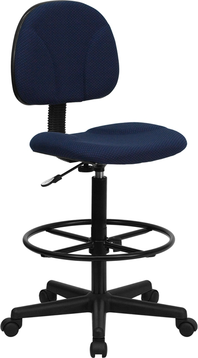 Flash Furniture Navy Blue Patterned Fabric Ergonomic Drafting Stool [BT-659-NVY-GG]