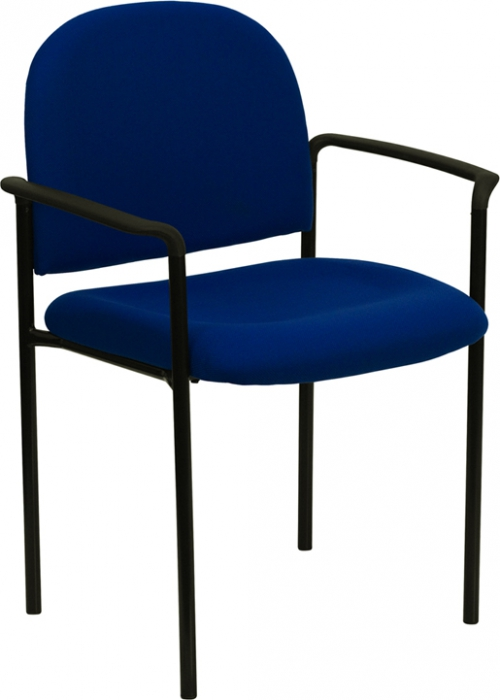 Flash Furniture Navy Fabric Comfortable Stackable Steel Side Chair with Arms [BT-516-1-NVY-GG]