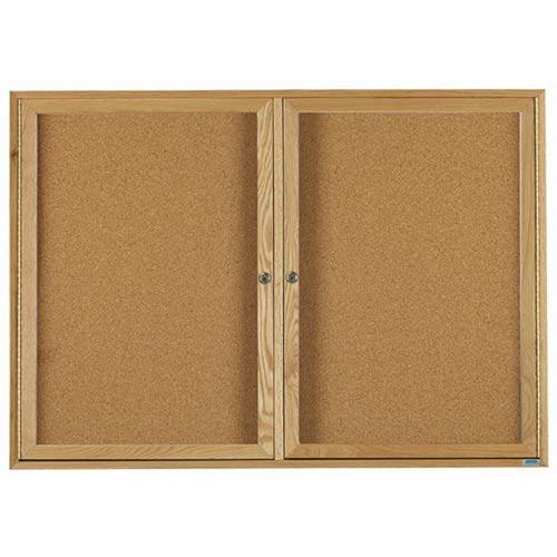 "Aarco DBO3660 Architectural High Performance Natural Pebble Grain Cork Bulletin Board with Oak Wood Grain Look Aluminum Trim 36"" x 60"""