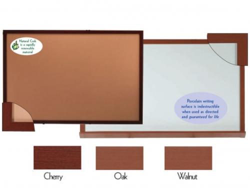 "Aarco DBO4872 Architectural High Performance Natural Pebble Grain Cork Bulletin Board with Oak Wood Grain Look Aluminum Trim 48"" x 72"""