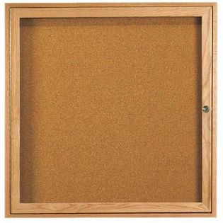 "Aarco OBC3636R Red Oak Enclosed Bulletin Board 36"" x 36"""