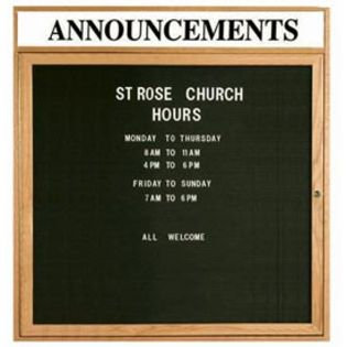"""Aarco ODC3636H 1 Door Enclosed Changeable Letter Board with Oak Finish and Header 36"""" x 36"""""""