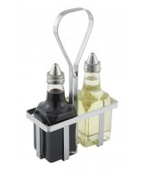 Winco WH-5 Square Chrome Plated Oil and Vinegar Cruet Rack