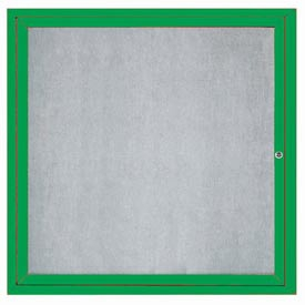 "Aarco ODCC3636RIG 1 Door Outdoor Illuminated Enclosed Bulletin Board with Green Powder Coated Aluminum Frame  36"" x 36"""