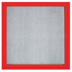 "Aarco ODCC3636RIR 1 Door Outdoor Illuminated Enclosed Bulletin Board with Red Powder Coated Aluminum Frame 36"" x 36"""