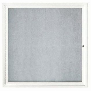 "Aarco ODCC3636RIW 1 Door Outdoor Illuminated Enclosed Bulletin Board with White Powder Coated Aluminum Frame 36"" x 36"""