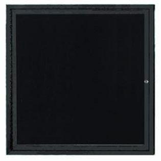 "Aarco OADC3636IBK 1 Door Outdoor Illuminated Enclosed Directory Board with Black Anodized Aluminum Frame 36"" x 36"""