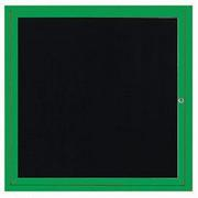 "Aarco OADC3636IG 1 Door Outdoor Illuminated Enclosed Directory Board with Green Anodized Aluminum Frame 36"" x 36"""