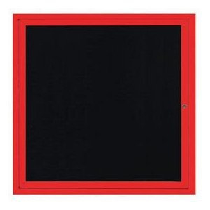 "Aarco OADC3636IR 1 Door Outdoor Illuminated Enclosed Directory Board with Red Anodized Aluminum Frame 36"" x 36"""