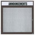"Aarco ODCC3636RHBA 1 Door Outdoor Enclosed Bulletin Board with Bronze Anodized Aluminum Frame and Header 36"" x 36"""