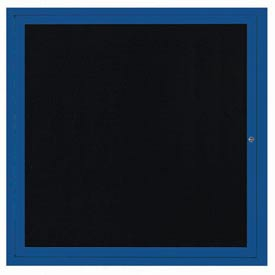 "Aarco OADC3636B 1 Door Outdoor Enclosed Directory Board with Blue Anodized Aluminum Frame 36"" x 36"""