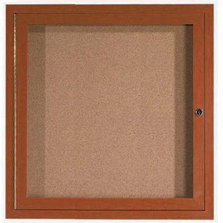 "Aarco ODCCO3636R 1Door Outdoor Enclosed Bulletin Board with Aluminum Wood-Look Oak Finish  36"" x 36"""