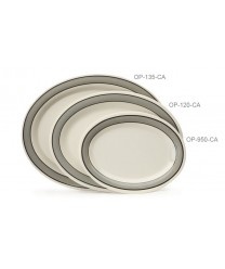 "GET Enterprises OP-135-CA Diamond Cambridge Oval Platter, 13-1/2""x 10-1/4""(1 Dozen)"