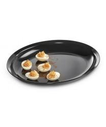 "GET Enterprises ML-181-BK Milano Black Oval Platter, 15""x 12""(3 Pieces)"