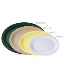 "GET Enterprises OP-614-W Oval SuperMel White Platter, 13 1/4""x 9-3/4""(1 Dozen)"