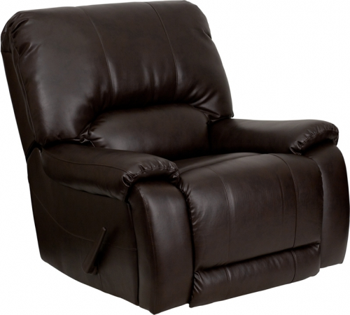Flash Furniture  OverStuffed Brown Leather Lever Rocker Recliner [MEN-DSC01029-BRN-GG]
