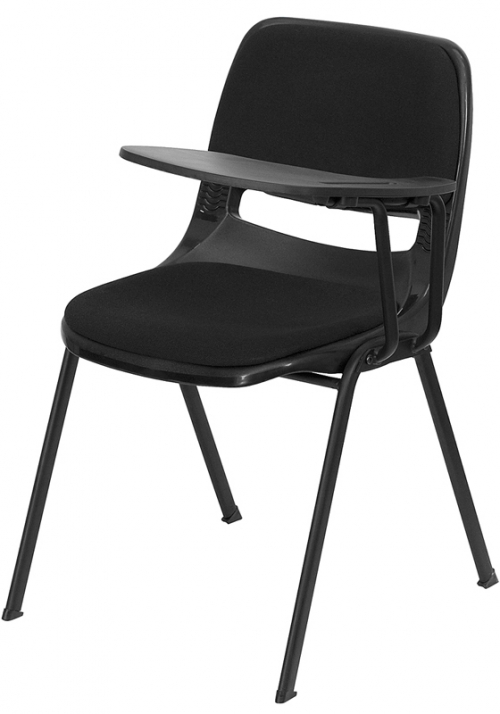 Flash Furniture Padded Black Ergonomic Shell Chair with Left Handed Flip-Up Tablet Arm [RUT-EO1-01-PAD-LTAB-GG]