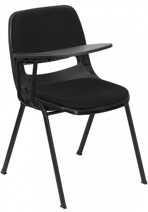 Flash Furniture  Padded Black Ergonomic Shell Chair with Right Handed Flip-Up Tablet Arm [RUT-EO1-01-PAD-RTAB-GG]