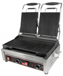 Grindmaster-Cecilware SG2LG Double Panini Sandwich Grill, Grooved Surface - 240V