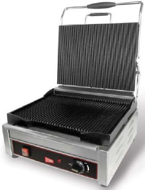 Grindmaster-Cecilware SG1LG Single Sandwich / Panini Grill, Grooved Surface 120 V