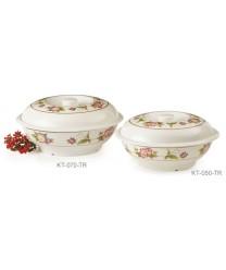 GET Enterprises KT-070-TR Tea Rose Melamine Bowl, with Lid, 94 oz. (1 Dozen)