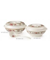 GET Enterprises KT-070-CG Garden Dynasty Melamine Bowl, with Lid, 94 oz. (1 Dozen)