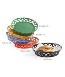 "GET Enterprises RB-860-PB Peacock Blue Round Plastic Basket, 10-1/2""(1 Dozen)"