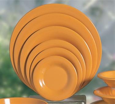 """Thunder Group CR010YW Yellow Melamine Wide Rim Round Plate 10-1/2""""  (1 Dozen)"""