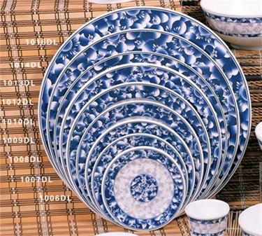 "Thunder Group 1013DL Blue Dragon Round Plate 12-5/8"" (1 Dozen)"