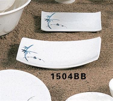 "Thunder Group 1504BB Blue Bamboo BBQ Plate 6-3/4"" x 4-1/2"" (1 Dozen)"