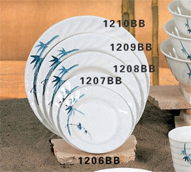 Thunder Group 1207BB Blue Bamboo Curved Rim Round Plate 7