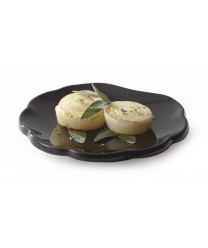 "GET Enterprises 139-BK Black Elegance Scallop Shape Plate, 8""(1 Dozen)"
