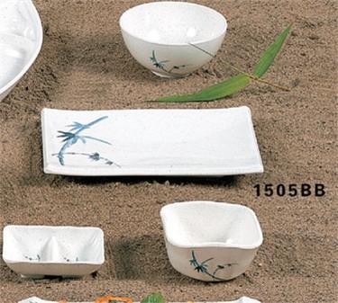 "Thunder Group 1505BB Blue Bamboo BBQ Plate 8-1/4"" x 5-5/8"" (1 Dozen)"