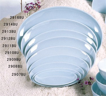 "Thunder Group 2908 Blue Jade Oval Plate 8-1/8"" x 5-3/8"" (1 Dozen)"