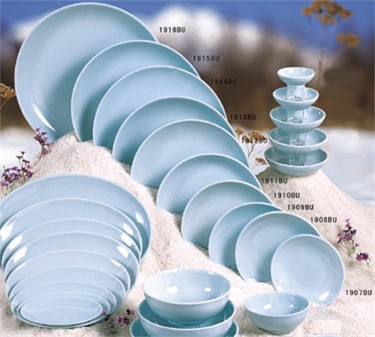 "Thunder Group 1914 Blue Jade Round Platter 13-3/4"" (1 Dozen)"
