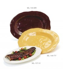 "GET Enterprises ML-137-TY New Yorker Tropical Yellow Oval Platter, 17-3/4""x 13""(3 Pieces)"