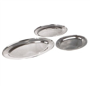 "Winco OPL-22 Stainless Steel Oval Platter 21-3/4"" x 14-1/2"""