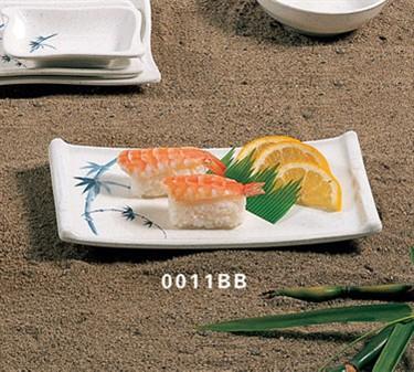 "Thunder Group 0011BB Blue Bamboo Sashimi Platter 8-1/2"" x 4-3/4"" (1 Dozen)"