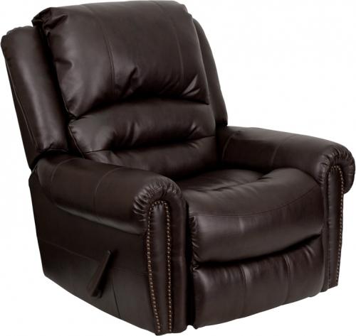 Flash Furniture  Plush Brown Leather Rocker Recliner [MEN-DSC01056-BRN-GG]