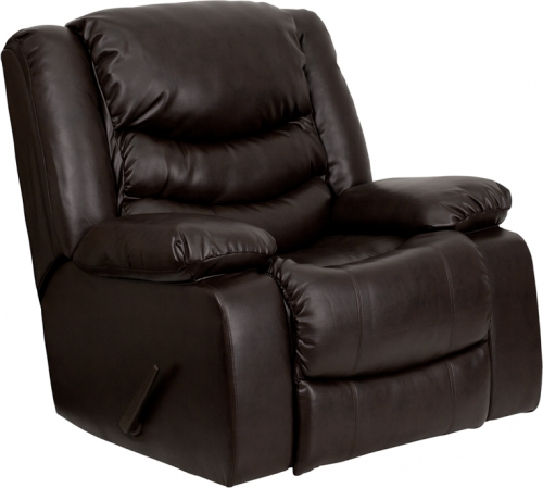 Flash Furniture  Plush Brown Leather Rocker Recliner [MEN-DSC01078-BRN-GG]