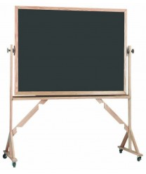 Aarco RS3648S Reversible Free Standing Porcelain Chalkboard with Oak Frame 36