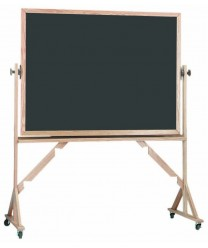 Aarco RS4872S Reversible Free Standing Porcelain Chalkboard with Oak Frame 48