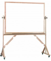 """Aarco WRS3648 Reversible Free Standing White Porcelain Markerboard with Red Oak Frame  36"""" x 48"""""""