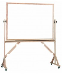 """Aarco WRS4872 Reversible Free Standing White Porcelain Markerboard with Red Oak Frame  48"""" x 72"""""""