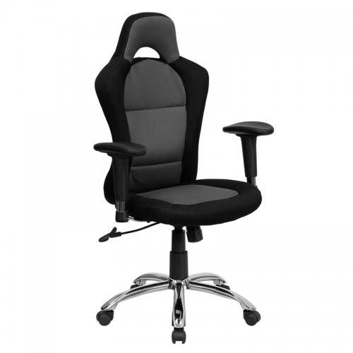 Flash Furniture  Race Car Inspired Bucket Seat Office Chair in Gray & Black Mesh [BT-9015-GYBK-GG]