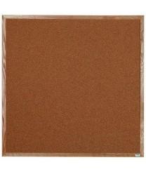 "Aarco OB4848 Natural Pebble Grain Cork Bulletin Board with Oak Frame 48"" x 48"""