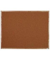 "Aarco OB4860 Natural Pebble Grain Cork Bulletin Board with Oak Frame 48"" x 60"""